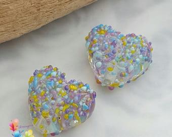 Lampwork Beads Fiorello Blossom Love Heart Pair