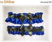 SALE 10% OFF Camouflage Wedding Garter Set Royal Blue BB