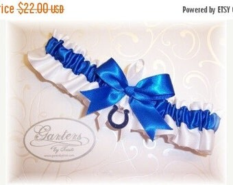 SALE 10% OFF Handmade Wedding Garter with IIndianapolis Colts charm Toss Satin W-Rrw