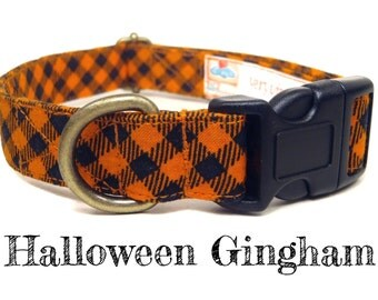 "Orange Black Gingham Plaid Halloween Fall Dog Collar - Organic Cotton Dog Collar - All Antique Brass Hardware - ""Halloween Gingham"""
