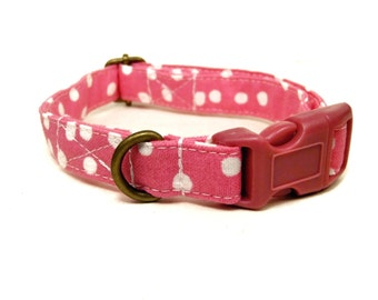 The Avery - Organic Cotton CAT Collar Breakaway Safety Hot Pink White Polka Dot - All Antique Brass Hardware