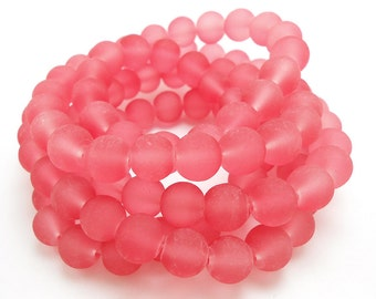 50 Frosted Pink Matte Sea Glass Beads 8mm frosted beach glass round (H5007)