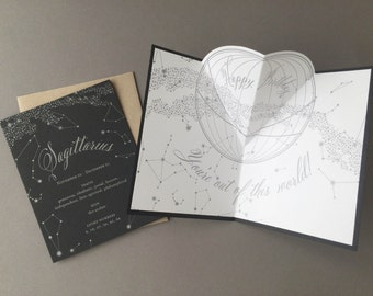 Sagittarius Birthday Card, letterpress, zodiac