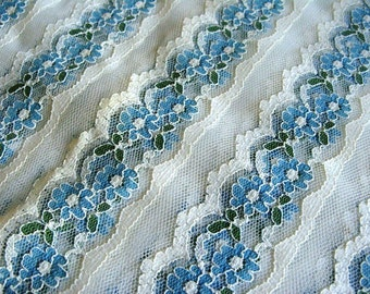Vintage Blue Floral Lace Fabric 1.58 yards