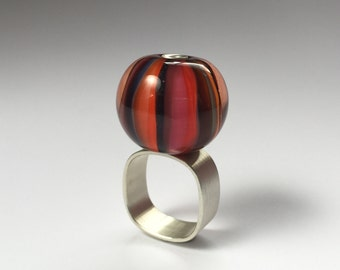 Glass + Silver Marble Ring. One Of A Kind Jewelry. Modern Red Flamework Wearable Art.