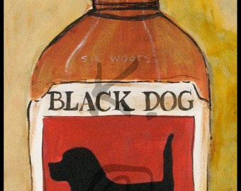 Black Dog Art - Black Dog Bourbon - Plak Mounted Print - Bourbon Art - Black Lab Gift - Bourbon Gift - Gift for Dog Lover - Black Labrador