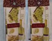 SET of 2 - Hanging Cloth Top Kitchen Hand Towels - Burgandy Top with Gold Highlights Print, Larger Vineyard Wine Towels