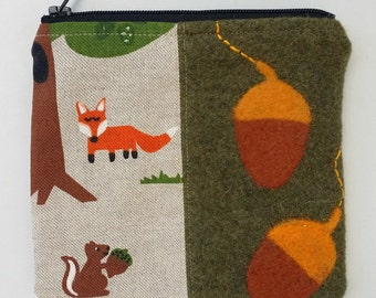 Zippered coin purse pouch purse moss green wool fox squirrel with a needle felted acorns