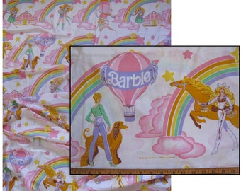 vintage Barbie sheet -- twin flat, cotton blend, 1981 -- rainbow, horse, rollerskating Ken, sportscar -- bedding or craft supply fabric