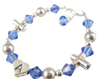Customizable Cross Bracelet For Girls- Choose Colors & Personalization - Birthstone Crystals