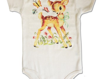 Deer Bodysuit with Butterflies Graphic One Piece, Organic Baby Top, baby layette, infant one piece 3m, 6m, 12m, or 18m