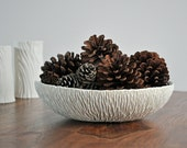 Extra Large Geode  Porcelain Bowl - Gray White  Dining Serving Home Decor