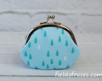 Clasp Change Coin Purse Raindrop Light Blue Earbud Holder Kisslock Purse Rosary Case Jewelry Case Metal Frame Purse