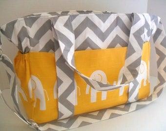 Elephant Diaper Bag - Yellow Elephant - Diaper Bag - Extra Large Diaper Bag - Chevron Bag - Nappy Bag - Messenger Bag