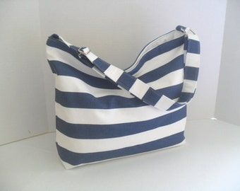 Hobo - Navy Blue and White Stripe - Messenger Bag - Crossbody -  Diaper Bag - Beach Bag - Nautical Bag - Blue Stripe Diaper Bag