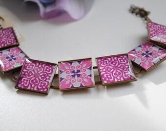 Purple and Pink Patchwork Quilt Block Bracelet