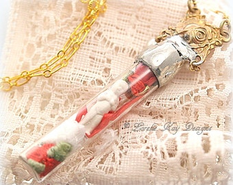 Red Rose Frozen Charlotte Soldered Doll in Bottle Necklace Tiny Perfect Frozen Charlotte Doll Earring Set