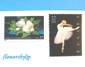 Wedding Postage Stamps, Ballet, White Magnolia, Black and White, Mail 20 Invitations 2 oz envelope rate, Ballerina floral 68c postage stamps