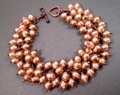Copper Cha Cha Bracelet, Peachy Luster Glass Beaded, Wire Wrapped Charm Bracelet, FREE Shipping U.S.