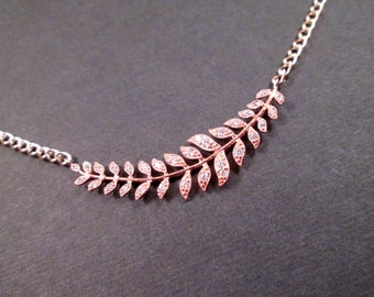 Leaf Vine Necklace, Cubic Zirconia and Rose Gold Pendant Necklace, FREE Shipping U.S.