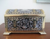 SALE Vintage tin chest box Teleflora Christmas gold silver angel embossed West Germany