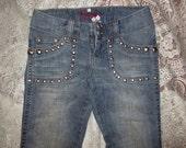 Hippie Boho Grunge Punk Gypsy Grommet Frayed Jeans Sz 1
