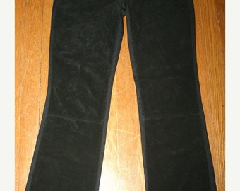 ON SALE Vintage Black Suede Leather Pants Bootcut, Size 2 Ladies