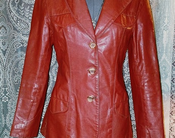 Vintage 1980's Rusty Brown Ladies Leather Jacket Fitted S/M