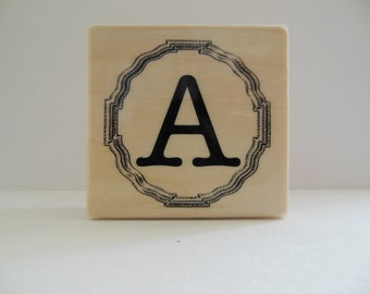 Letter A Rubber Stamp - Gingham Wildflower Collection - Wood Mounted Rubber Stamp - Alphabet Letter A Stamp