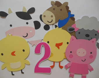 Farm Animal Cutouts with Number - Chick, Cow, Horse, Lamb, Pig and Duckling - Birthday Party Decoration - Baby Shower Decorations - Set of 6