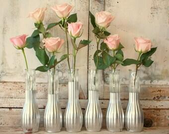 Silver vases, silver wedding decor,  Set of 6 silver dipped vases and, silver painted vase, silver wedding table decor