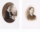 Wedding.Marriage.Romantic.Original Antique,Postcards.TWO.retro.Paris.french.rare.scrap book.couple.home deco.writer.dapper.fashion.vintage