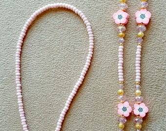 Pretty in Pink Flowers  Beaded Eyeglass Chain with Swarovski Rose Element Crystals
