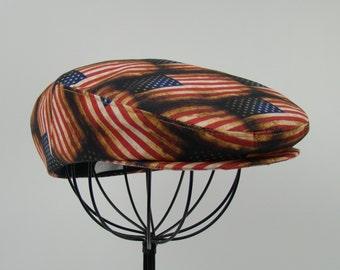 Patriotic Vintage Distressed American Flag Print Cotton Canvas Jeff Cap, Flat Ivy Cap, Driving Cap -
