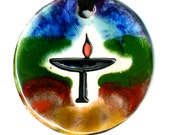 Flaming Chalice Ceramic Necklace in Rainbow Glaze (medium size)