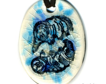 Water Bears Ceramic Necklace in Blue Crackle