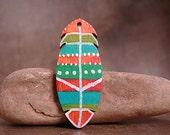 Handpainted Wood Feather Pendant Divine Spark Designs