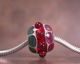 Borosilicate Lampwork Glass Big Hole Bracelet Bead Ruby Red  Greenish Blue Pink Sterling Core Divine Spark Designs SRA