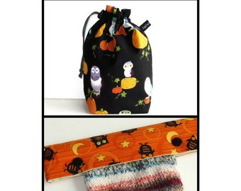 Drawstring Bag Padded Knitting Project  Bag - Hallowe'en Owls and Pumpkins, and Optional Needle Keeper