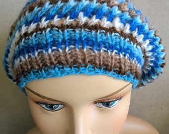 Tam or slouch hat, handknit with my handspun yarn
