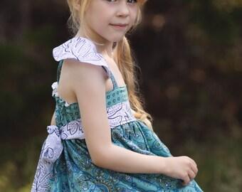Girls Blue Dress- Girls Flower Dress- Blue Flower Dress- Blue Floral Dress- Fall Dress- Kindergarten Dress- School Outfit- School Dress-