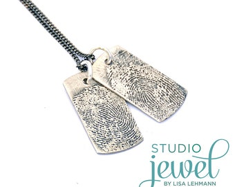 Actual Fingerprint Necklace. Personalized Fingerprint Necklace. Memorial Jewelry. Mother's Day Gift. Dog Tag Necklace. Keepsake Jewelry 2099