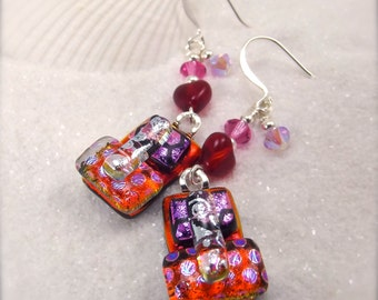 Dichroic glass earrings, fused glass jewelry, red hot hearts, valentine jewelry, glass fusion, gifts for her, hana sakura, handmade gifts