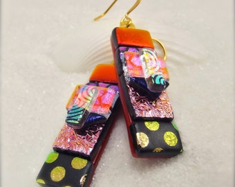 Dichroic glass earrings, Fused glass jewelry, Unusual earrings, Statement earrings, kiln fused earrings, red jewelry, gold plated wires