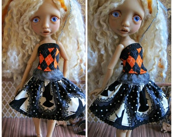 Tiny BJD Halloween Corset Set for Mystery BJD by Tickled Pink by Julie