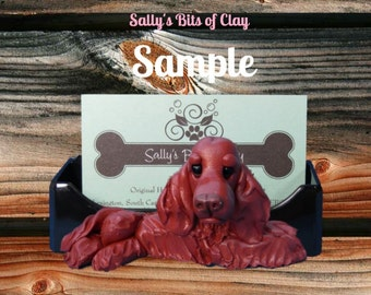 Irish Setter Business Card Holder / Iphone / Cell phone / Post it Notes OOAK sculpture by Sally's Bits of Clay