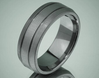 Brushed Center Beveled Stripes Titanium Comfort Fit Wedding Band Ring Quick Ship