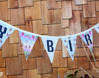 Ready To Ship As Shown, Happy Birthday Banner Bunting Party Flags Garland Party Decoration, Vintage Elephants, Photo Prop, Gender Neutral