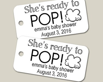 Mini Personalized Ready to Pop Tags, Baby Shower Tags, Personalized Tags, Custom Tags, Gift Tags, Personalized - Set of 25