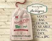 Santa Sack SVG Cutting File - Personalized Santa Christmas Delivery Bag SVG Cut File - Santa Sleigh - svg, dfx, png and jpg files